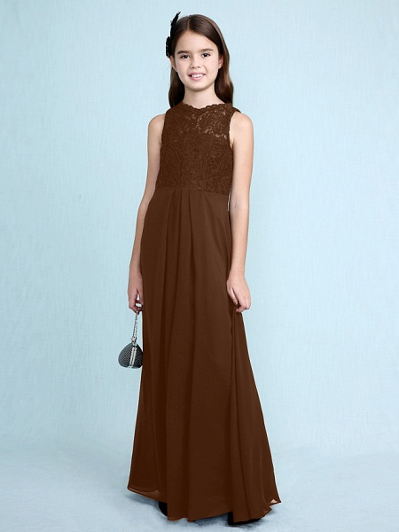 Sheath / Column Scoop Neck Floor Length Chiffon / Lace Junior Bridesmaid Dress With Lace / Natural_26