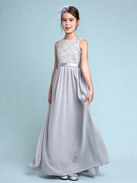 Sheath / Column Bateau Neck Floor Length Chiffon / Lace Junior Bridesmaid Dress With Lace / Natural_4