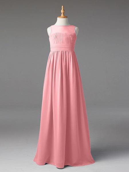 Princess / A-Line Jewel Neck Floor Length Chiffon Junior Bridesmaid Dress With Sash / Ribbon / Pleats_19