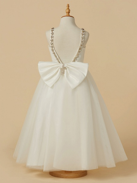 A-Line Ankle Length Wedding / First Communion Flower Girl Dresses - Lace / Tulle Sleeveless Straps With Bow(S) / Beading_2