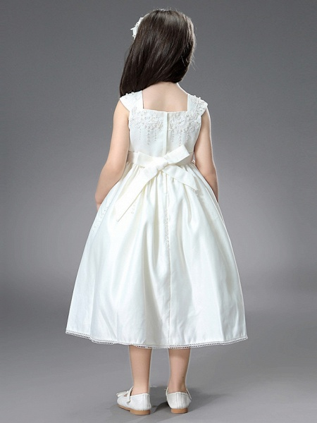Princess / Ball Gown Ankle Length / Royal Length Train Wedding / First Communion Flower Girl Dresses - Satin Sleeveless Square Neck With Belt / Beading / Appliques_7