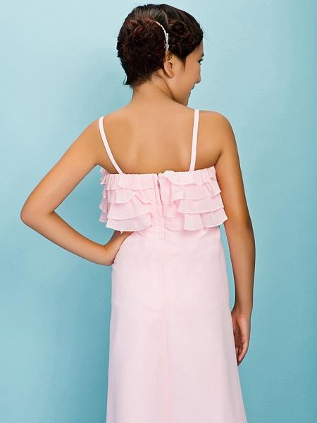 A-Line / Sheath / Column Spaghetti Strap Floor Length Chiffon Junior Bridesmaid Dress With Pleats / Ruffles / Spring / Fall / Winter / Apple / Hourglass_6
