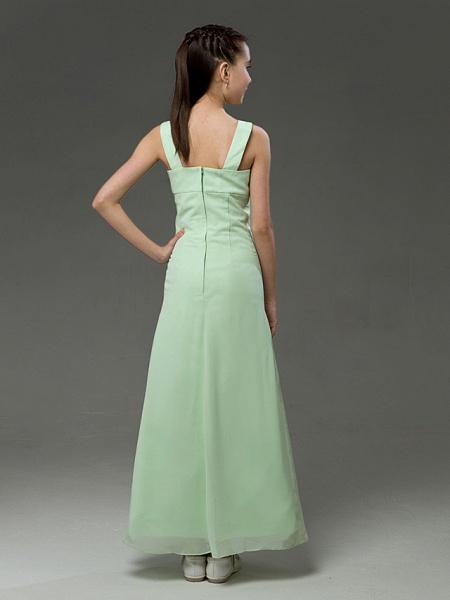 Princess / A-Line Straps Floor Length Chiffon / Satin Junior Bridesmaid Dress With Ruffles / Spring / Summer / Fall / Winter / Apple_4