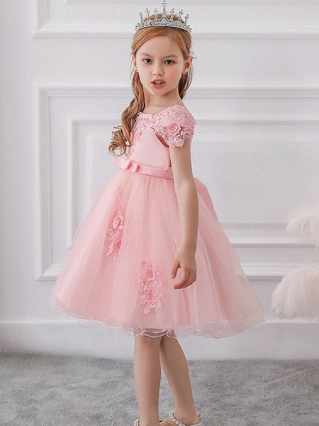 Princess / Ball Gown Knee Length Wedding / Party Flower Girl Dresses - Satin / Tulle Short Sleeve Off Shoulder With Sash / Ribbon / Bow(S) / Appliques_5