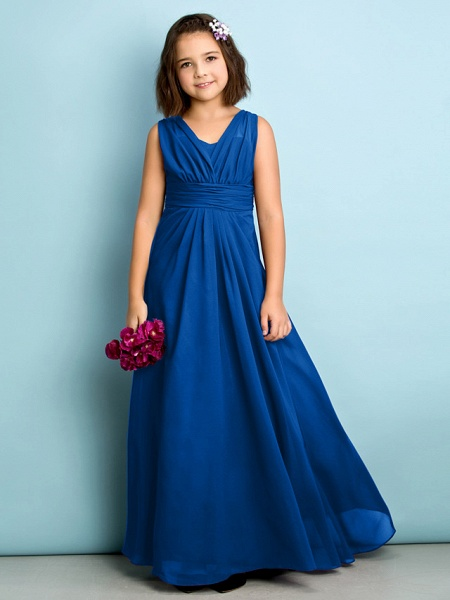 A-Line V Neck Floor Length Chiffon Junior Bridesmaid Dress With Criss Cross / Natural / Mini Me_33