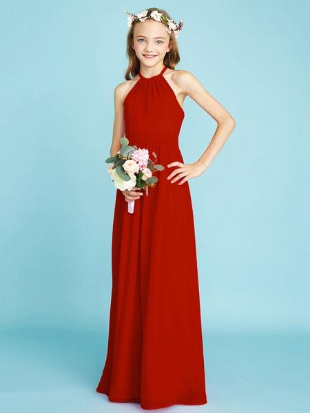 A-Line Halter Neck Floor Length Chiffon Junior Bridesmaid Dress With Sash / Ribbon / Natural_15