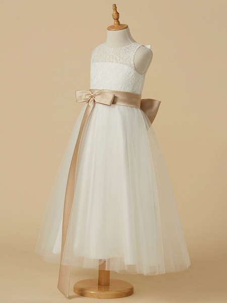 A-Line Ankle Length Wedding / First Communion Flower Girl Dresses - Lace / Tulle Sleeveless Jewel Neck With Sash / Ribbon / Bow(S) / Pleats_3