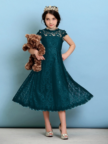 Princess / A-Line Jewel Neck Tea Length Lace Junior Bridesmaid Dress With Pleats / Natural_36
