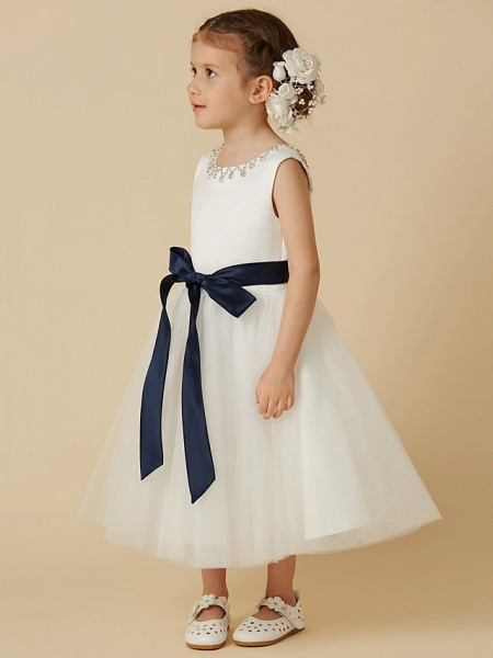 Princess Tea Length Wedding / First Communion Flower Girl Dresses - Satin / Tulle Sleeveless Jewel Neck With Sash / Ribbon / Beading_3