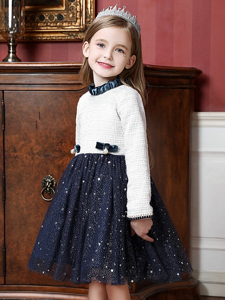 Princess / Ball Gown Knee Length Wedding / Party Flower Girl Dresses - Tulle Long Sleeve High Neck With Splicing_4