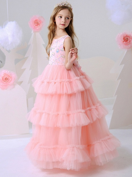 Ball Gown Floor Length Party / Birthday Flower Girl Dresses - Polyester Sleeveless Jewel Neck With Beading_2
