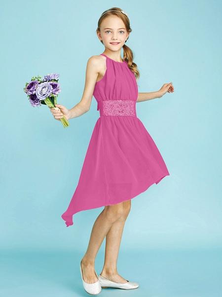 Sheath / Column Jewel Neck Asymmetrical Chiffon Junior Bridesmaid Dress With Sequin / Natural_29