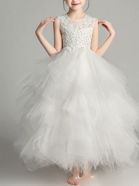 Ball Gown Floor Length First Communion Flower Girl Dresses - Chiffon Sleeveless Jewel Neck With Tier / Crystals / Rhinestones_1