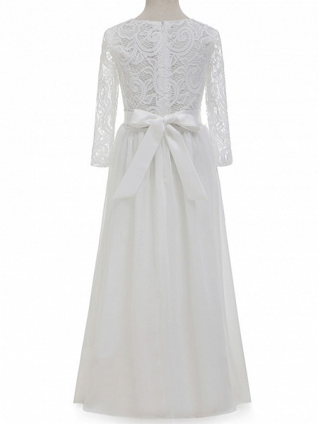 Sheath / Column Long Length Christmas / Wedding / First Communion Flower Girl Dresses - Chiffon / Lace Long Sleeve Jewel Neck With Lace / Bow(S)_2