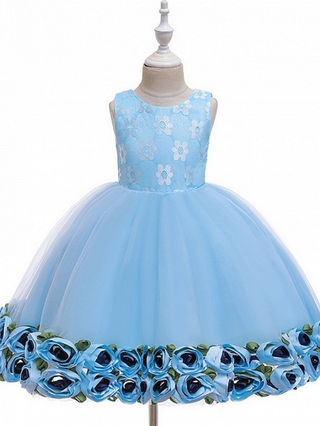 Princess / Ball Gown Knee Length Wedding / Party Flower Girl Dresses - Tulle Sleeveless Jewel Neck With Bow(S) / Pattern / Print / Flower_10