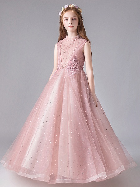 Princess / Ball Gown Floor Length Wedding / Party Flower Girl Dresses - Tulle / Polyester / Cotton Blend 3/4 Length Sleeve Jewel Neck With Appliques / Tiered_2