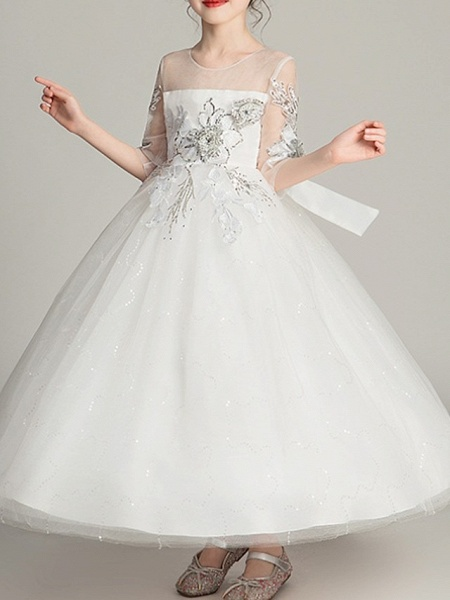 Ball Gown Ankle Length Pageant Flower Girl Dresses - Polyester Half Sleeve Jewel Neck With Bow(S)_1