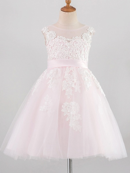 Princess Knee Length Wedding / Birthday / Pageant Flower Girl Dresses - Lace / Satin / Tulle Sleeveless Jewel Neck With Belt / Buttons / Appliques_1