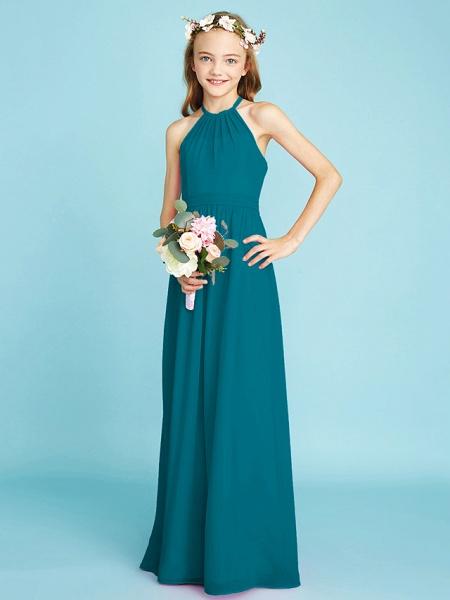 A-Line Halter Neck Floor Length Chiffon Junior Bridesmaid Dress With Sash / Ribbon / Natural_28
