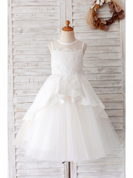 Ball Gown Knee Length Wedding / Birthday Flower Girl Dresses - Lace / Tulle Sleeveless Jewel Neck With Bow(S) / Appliques_1