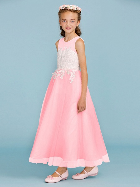 Princess / A-Line Jewel Neck Ankle Length Lace / Tulle Junior Bridesmaid Dress With Sash / Ribbon / Appliques / Wedding Party / Open Back_22