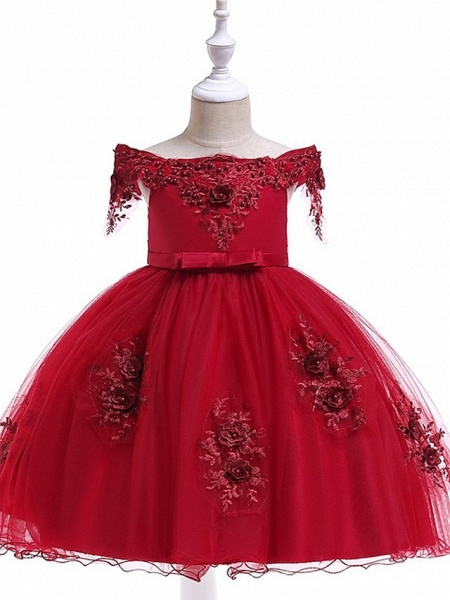 Princess / Ball Gown Knee Length Wedding / Party Flower Girl Dresses - Satin / Tulle Short Sleeve Off Shoulder With Sash / Ribbon / Bow(S) / Appliques_10
