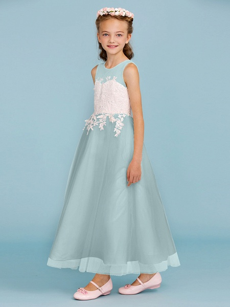 Princess / A-Line Jewel Neck Ankle Length Lace / Tulle Junior Bridesmaid Dress With Sash / Ribbon / Appliques / Wedding Party / Open Back_14