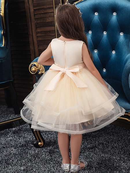 A-Line Knee Length Wedding / Party / Pageant Flower Girl Dresses - Tulle / Matte Satin / Poly&Cotton Blend Sleeveless Jewel Neck With Beading / Solid_2
