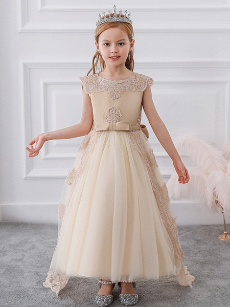 Princess / Ball Gown Sweep / Brush Train Wedding / Party Flower Girl Dresses - Satin / Tulle Sleeveless Jewel Neck With Sash / Ribbon / Bow(S) / Appliques_1