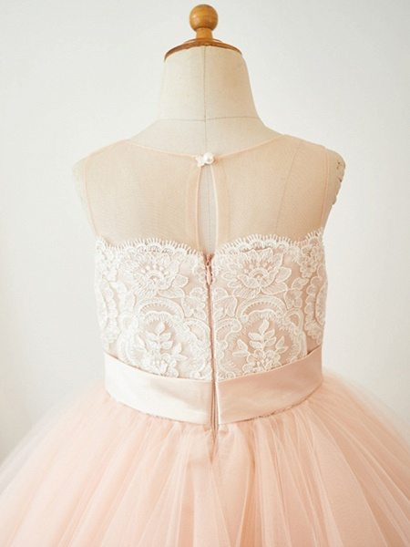 A-Line Knee Length Pageant Flower Girl Dresses - Lace / Tulle Sleeveless Jewel Neck With Lace / Sash / Ribbon_4