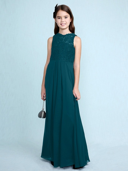 Sheath / Column Scoop Neck Floor Length Chiffon / Lace Junior Bridesmaid Dress With Lace / Natural_38