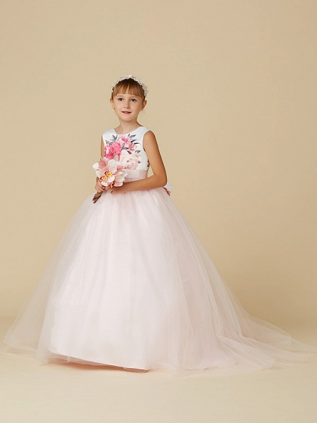 Princess Sweep / Brush Train Wedding / Birthday / Pageant Flower Girl Dresses - Satin / Tulle Sleeveless Jewel Neck With Sash / Ribbon / Print_3