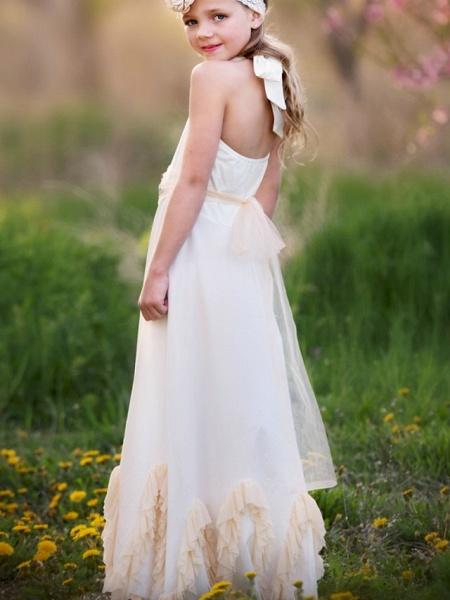 A-Line Knee Length Wedding / Party Flower Girl Dresses - Nylon Half Sleeve Jewel Neck With Sash / Ribbon / Appliques_3