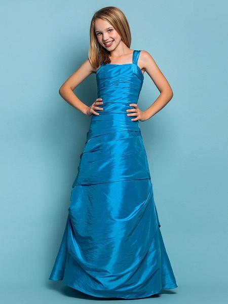 Princess / A-Line Straps Floor Length Taffeta Junior Bridesmaid Dress With Side Draping / Spring / Summer / Fall / Apple / Hourglass_3