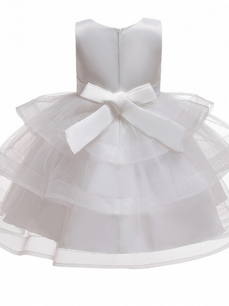 Princess / Ball Gown Knee Length Wedding / Party Flower Girl Dresses - Satin / Tulle Sleeveless Jewel Neck With Bow(S) / Beading / Tier_5