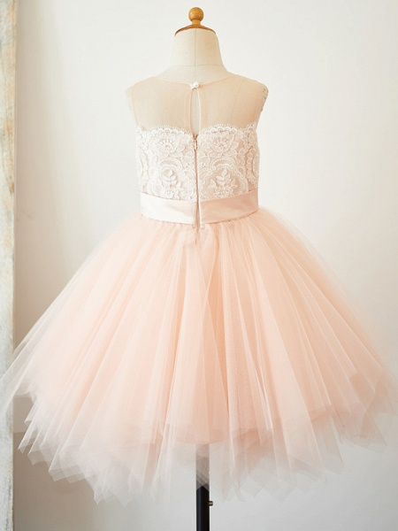A-Line Knee Length Pageant Flower Girl Dresses - Lace / Tulle Sleeveless Jewel Neck With Lace / Sash / Ribbon_2