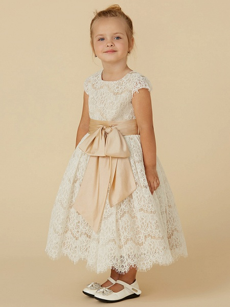 A-Line Tea Length Pageant Flower Girl Dresses - Lace / Taffeta Short Sleeve Jewel Neck With Sash / Ribbon / Bow(S) / Spring / Summer / Fall_3