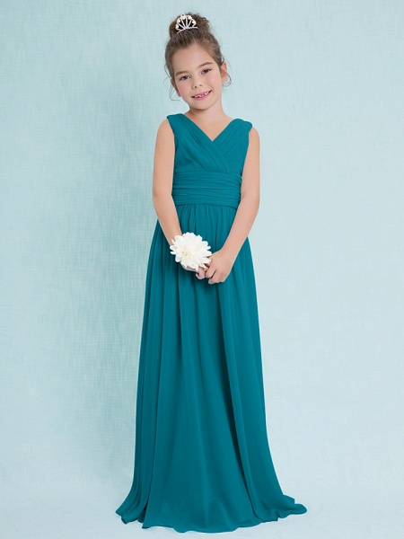 Sheath / Column V Neck Floor Length Chiffon Junior Bridesmaid Dress With Criss Cross / Ruched / Natural_26