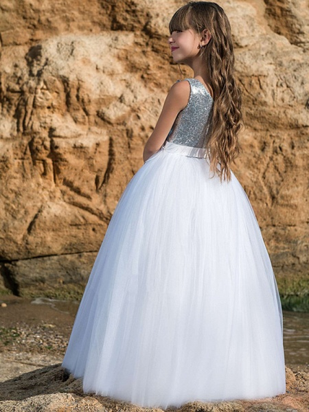 Ball Gown Maxi Wedding / Birthday / Pageant Flower Girl Dresses - Tulle Sleeveless Boat Neck With Belt / Crystals / Rhinestones / Paillette_3