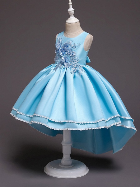 Princess Asymmetrical Wedding / Party / Pageant Flower Girl Dresses - Satin / Tulle Sleeveless Jewel Neck With Lace / Belt / Appliques_6
