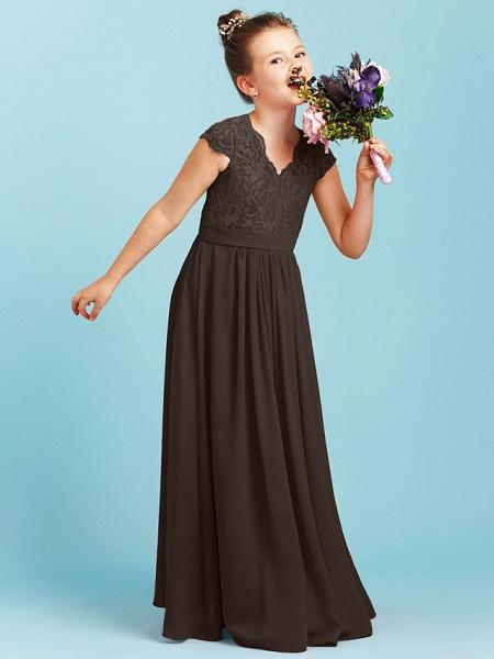 Princess / A-Line V Neck Floor Length Chiffon / Lace Junior Bridesmaid Dress With Sash / Ribbon / Pleats / Wedding Party_34