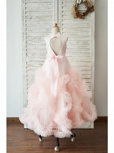 Princess / Ball Gown Floor Length Wedding / Birthday Flower Girl Dresses - Tulle Sleeveless Jewel Neck With Sash / Ribbon / Bow(S) / Flower_2