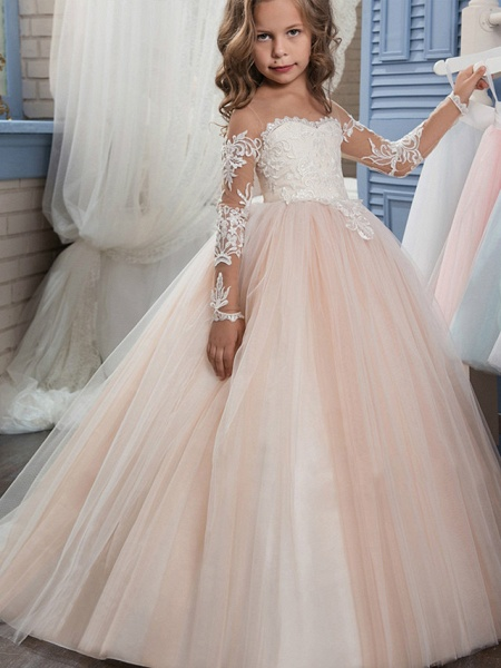 Ball Gown Sweep / Brush Train Wedding / Birthday / Pageant Flower Girl Dresses - Lace / Tulle Long Sleeve Off Shoulder With Lace / Embroidery / Appliques_1