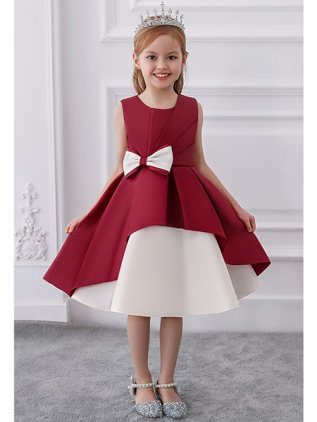 Princess / A-Line Knee Length Wedding / Party Flower Girl Dresses - Mikado Sleeveless Jewel Neck With Bow(S) / Tiered_1
