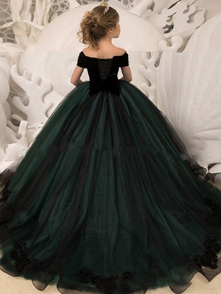Princess / Ball Gown Sweep / Brush Train Wedding / Party Flower Girl Dresses - Tulle / Velvet Long Sleeve Off Shoulder With Bow(S) / Crystal Brooch_2