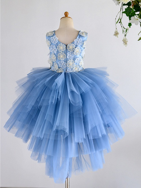 Ball Gown Asymmetrical Wedding / Birthday / Pageant Flower Girl Dresses - Satin / Tulle Sleeveless Jewel Neck With Petal / Pearls_2