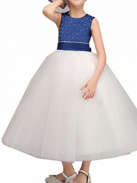Ball Gown Ankle Length Pageant Flower Girl Dresses - Polyester Sleeveless Jewel Neck With Bow(S)_5