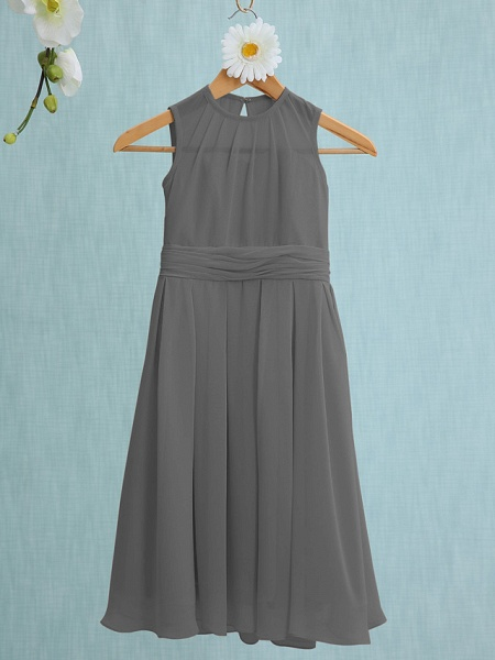 Sheath / Column Jewel Neck Knee Length Chiffon Junior Bridesmaid Dress With Ruched / Natural_23