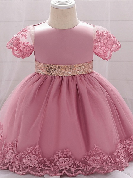 Ball Gown Floor Length Wedding / Party Christening Gowns - Lace / Satin / Tulle Sleeveless Jewel Neck With Bow(S) / Paillette_3