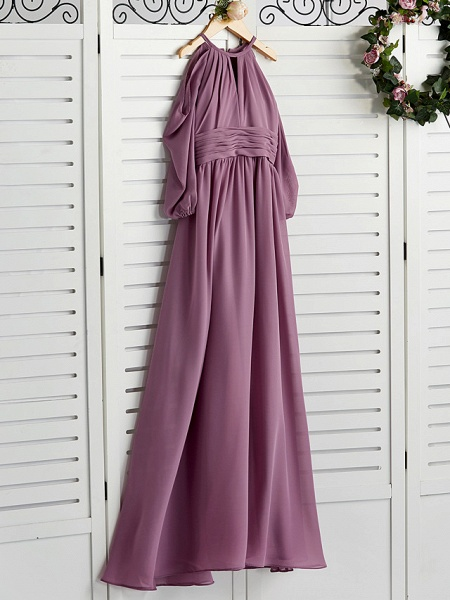A-Line Crew Neck Floor Length Chiffon Junior Bridesmaid Dress With Ruching / Wedding Party_3